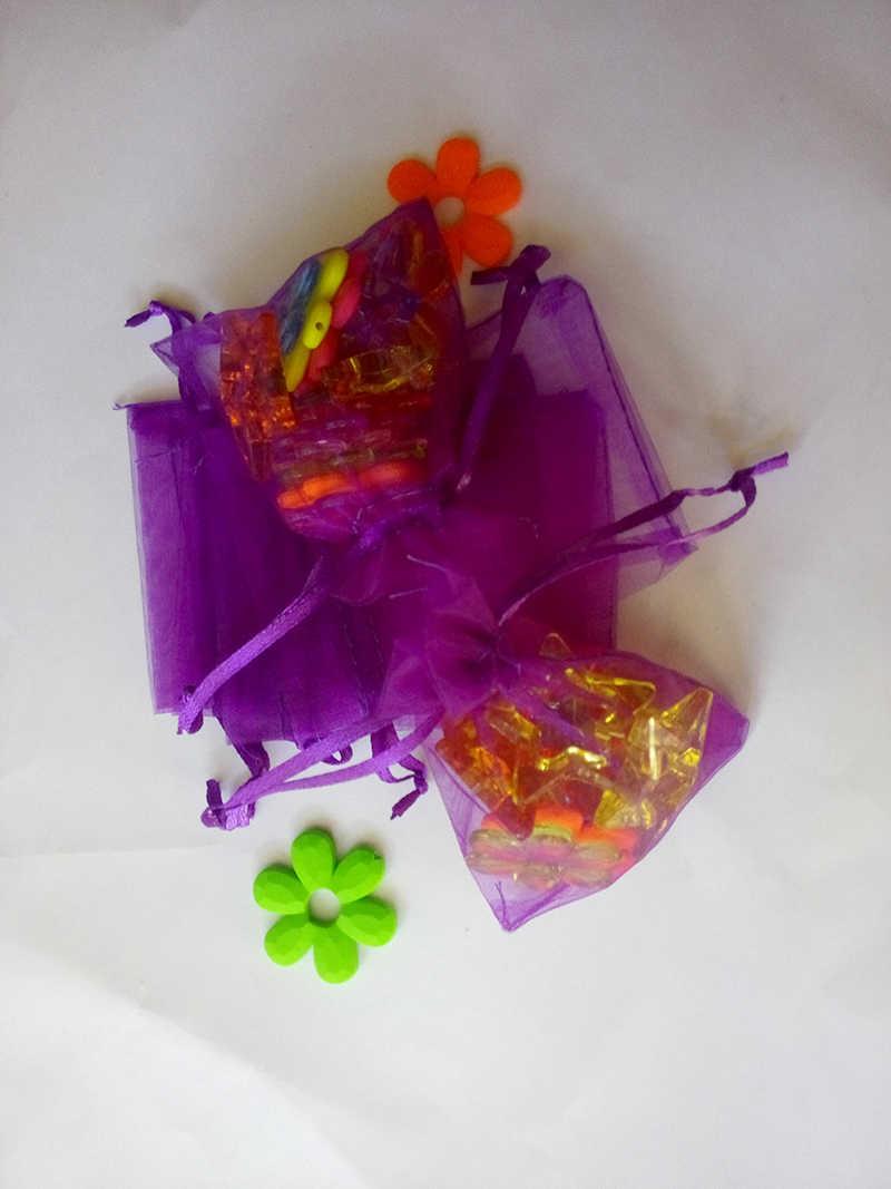 100pcs אורגנזה תיק 7x9cm שרוך פאוץ חתונה/יום הולדת/חג המולד שקיות מתנת תכשיטי אריזה תצוגת שקיות אחסון תיק