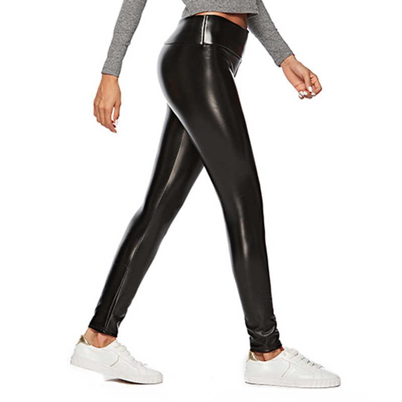 2019 de Cintura Alta Elástico Legging Preta Magro 3 Pcs Leggings Calças Moda PU Calças de Couro das Mulheres