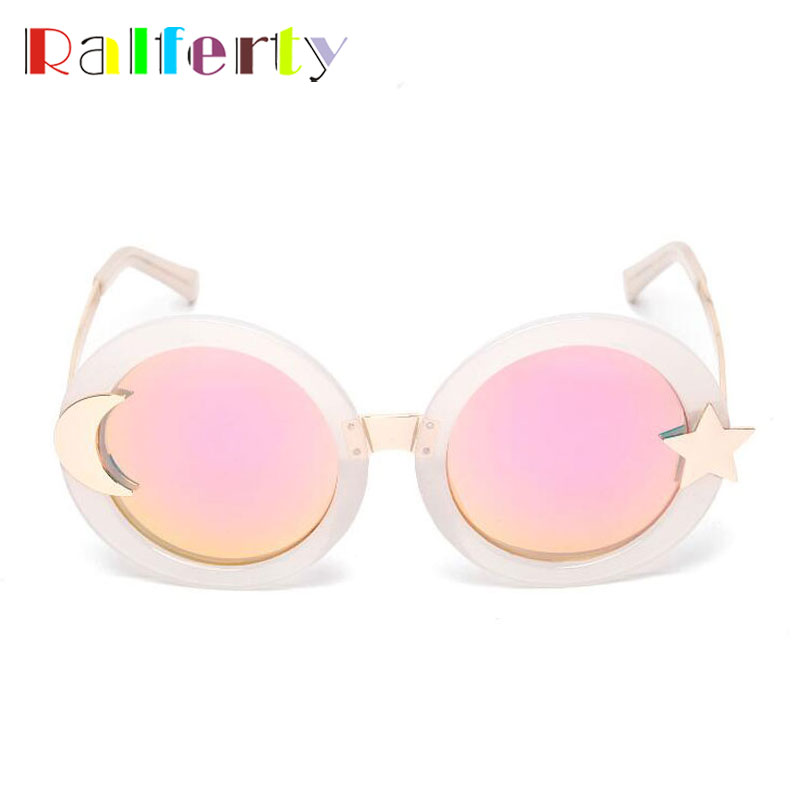 Ralferty Moon Star Round Sunglasses Women Brand Designer Retro Sun Glasses UV400 Goggles Circle Shades Oculo lunette femme 1007