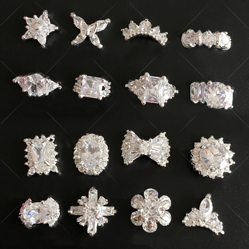 10pcslot Zircon Nails Rhinestones High Quality Glitter Crown Ring Flower Nail Designs NP300