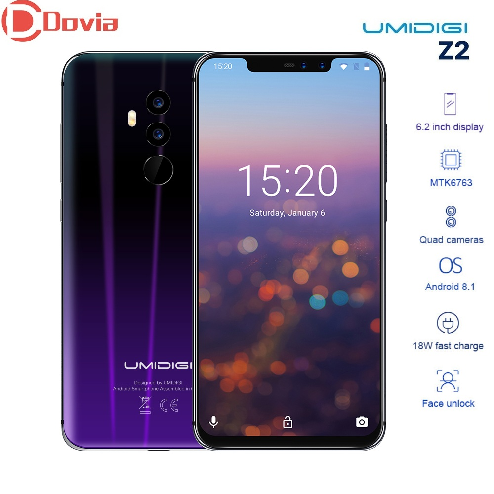 """UMIDIGI Z2 Smartphone 4050mAh 6.2"""" Android 8.1 MTK6763 Octa Core 2.0GHz 6GB+64GB 16.0MP+8.0MP Dual Back Cameras 4G Mobile Phone"""