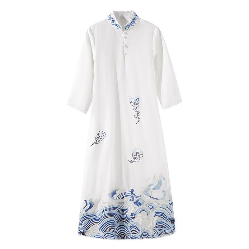 Boutique femmes d'été nouveau style chinois col montant broderie perlée bouton demi manches robe lâche