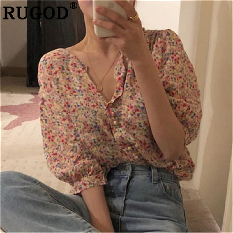 RUGOD Fashion Dot Printed Chiffon Women  Blouse Korean Chic Lantern Sleeve Shirts Ladies 2019 Summer Single Breasted Tops Female