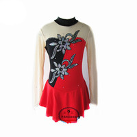 Figure Skating Dress Women's Girls' Ice Skating Dress Red and black collocation Green and white collocation Flower decoration