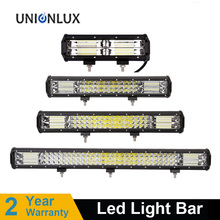 цена на 5 12'' 20'' 26'' 32'' Straight Tri-Row LED Light Bar Combo Beam Offroad Work Light 4WD 4x4 LED Bar Camper Trailer ATV