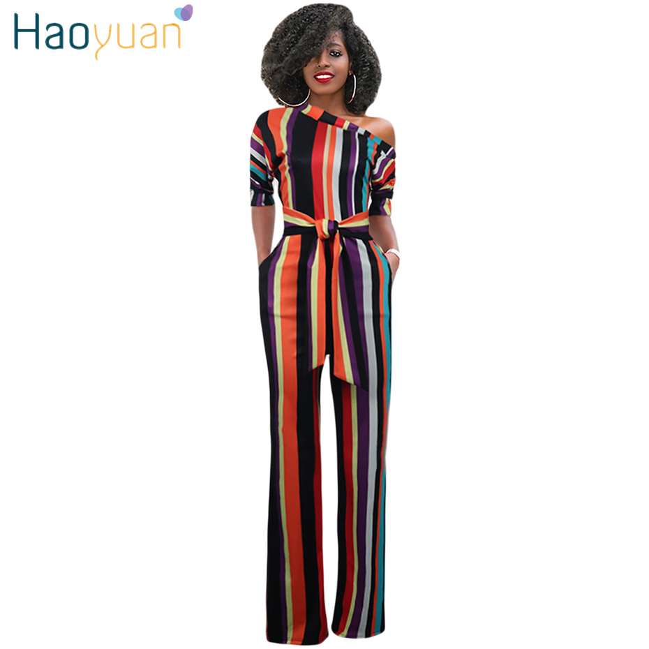HAOYUAN Striped Sexy Jumpsuit Club Party Streetwear Summer Overalls Plus Size One Shoulder Wide Leg Rompers Womens Jumpsuit
