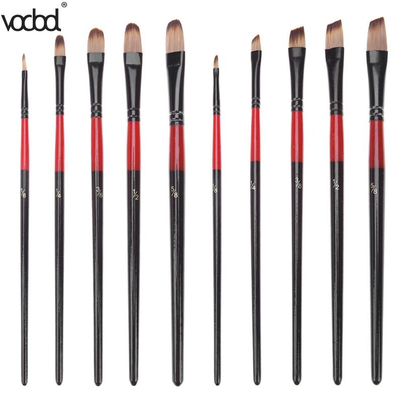5pcs Nylon Hair Aluminum Tube Paint Brush Set New For Learning Oil Acrylic Watercolor Painting Tool Art Drawing Brushes Supplies