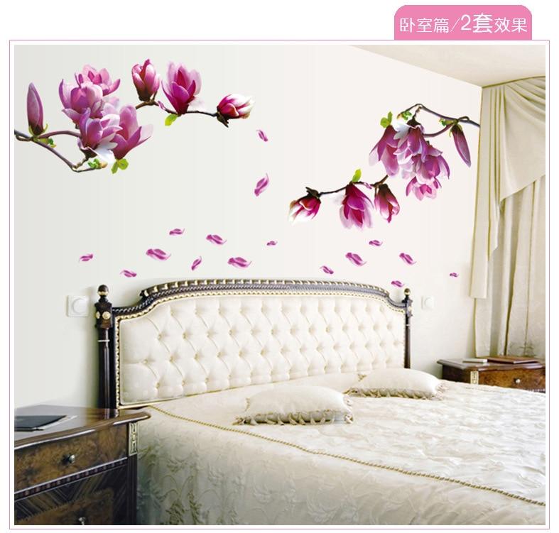 Acheter violet magnolia fleur stickers for Bricolage mural