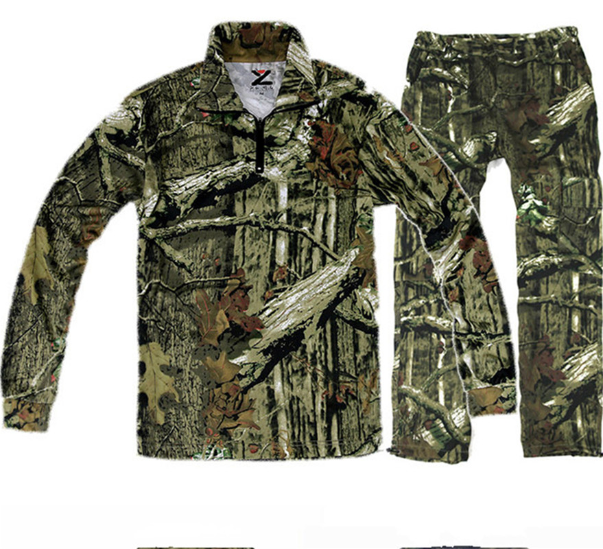 Upgrade Outdoor New Bionic Camouflage Hunting Clothes Green Leaf Breathable Shirt And Pants Suitable Spring Autumn Free Shipping-in Hunting Ghillie Suits from Sports & Entertainment    1