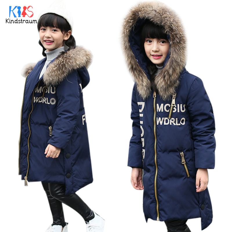 Kindstraum 2017 New Fashion Kids Winter Down Coat Hooded Boys Girls Warm Duck Down Letter Jacket Fur Collar Casual Outwear,MC847 kindstraum 2017 fashion kids winter jacket cotton new boys girls warm hooded coat children casual dinosaur outwear printed mc802