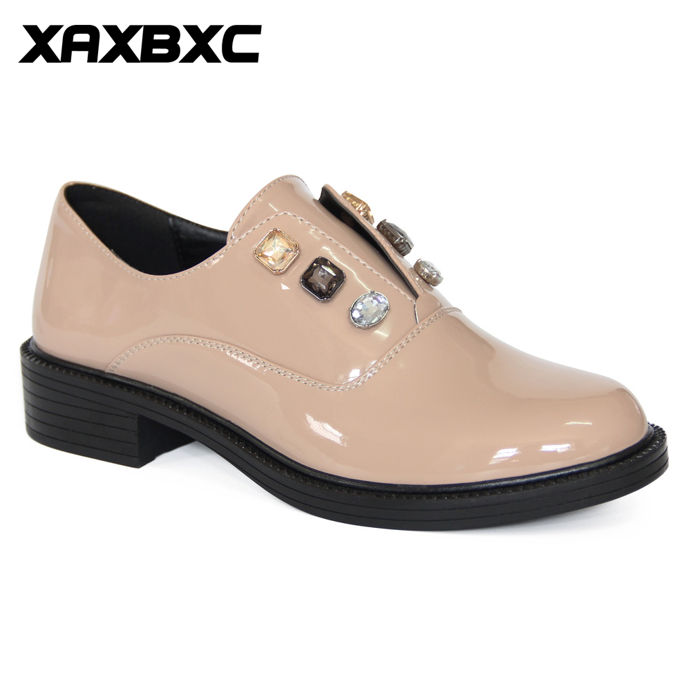 XAXBXC Retro British Style Leather Brogues Oxfords Lower Heels Women Shoes Apricot Shallow Crystal Handmade Casual Lady Shoes xaxbxc 2017 retro british autumn black pumps pu leather brogue shallow lace up oxfords women shoes handmade casual lady shoes