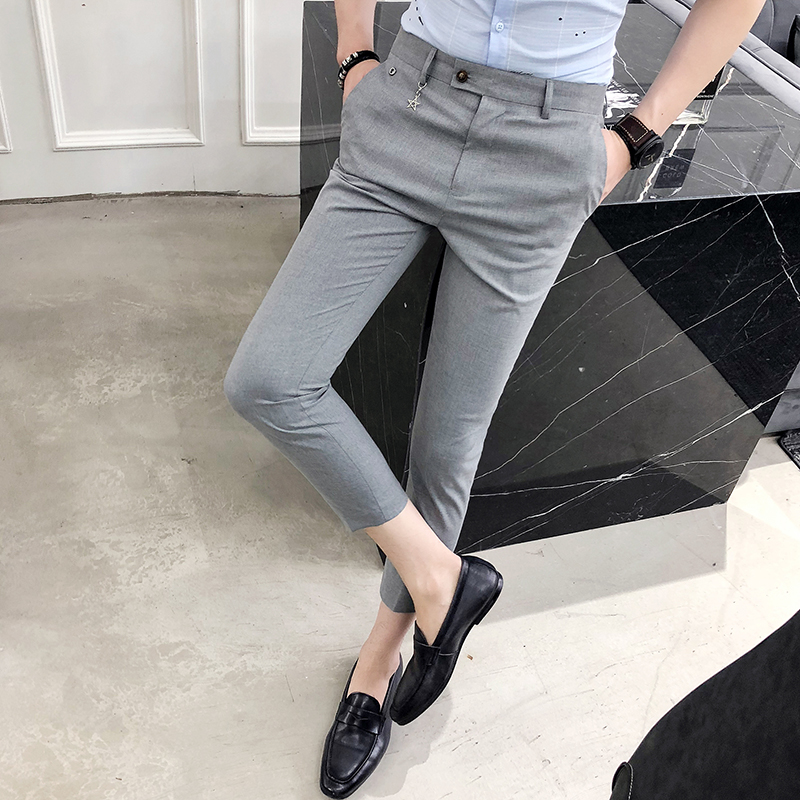 2018 summer mens solid color pants Korean version of the trend of casual pants young hair stylist trend Slim pants