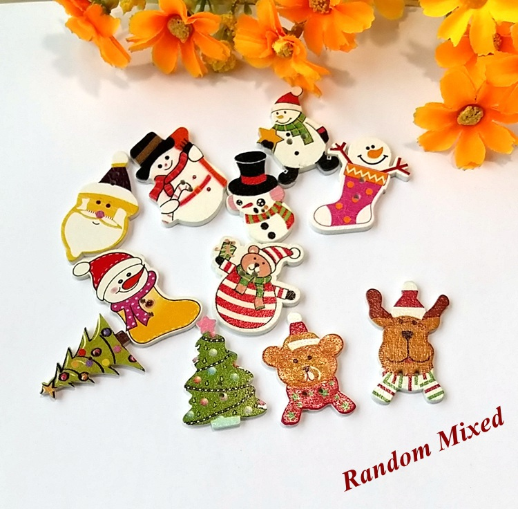 scrapbook Bulk decorative buttons mix 11 style 40pcs wood Christmas buttons for craft accessories product Sewing Botons Supplies