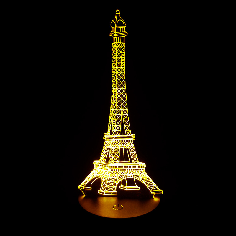 Eiffel Tower Creative Gift Led 3d Night Light Induction Remote Control 3d desk Lamp Novelty Luminaria De Mesa Table Lamps