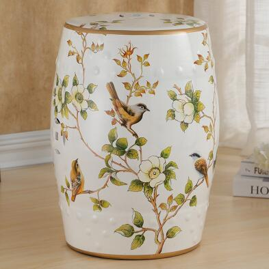 Beautiful flower and bird design chinese ceramic bedroom furniture seat stool beautiful darkness