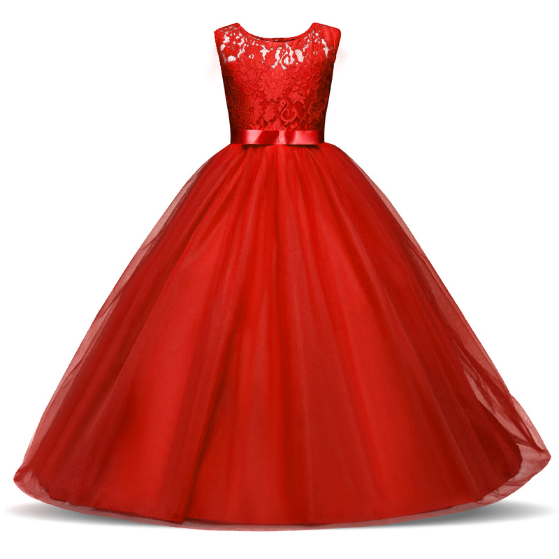 Red Christmas Dress For Girls Princess Party Costume Lace