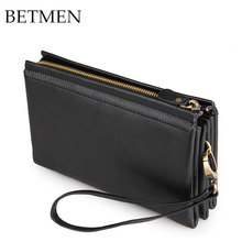 BETMEN High Quality Genuine Leather Handbags First Layer Cowhide Leather Clutch Bags Long Business Wallet Purses Black