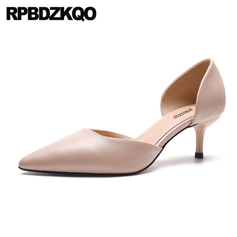 Ladies Medium Heels Thin 2018 Nude Pointed Toe Size 4 34 Italian Kitten Winkle Picker Sandals Shoes High Black Pumps 3 Inch bow size 33 cute 2018 3 inch pumps korean medium heels pointed toe 4 34 thin kawaii sweet kitten nude blue suede shoes women