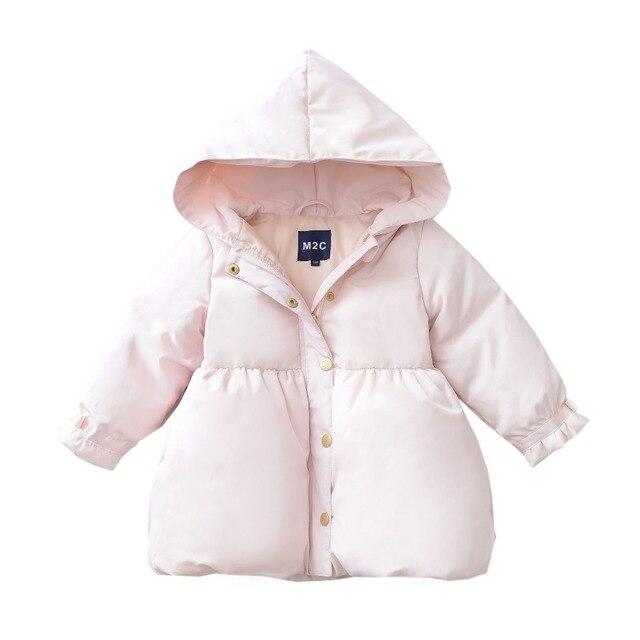 2017 Hiheart новый стиль Зимняя одежда ребенка Вниз Куртки Ультра-легкий ребенок пуховик Девушка 90% белая утка вниз Один год старый Розовый