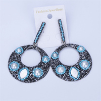 New Hollow Disc Round Pave Freshwater Pearl Beads Black Blue Rhinestone Strip Pendant Charms Dangle Statement