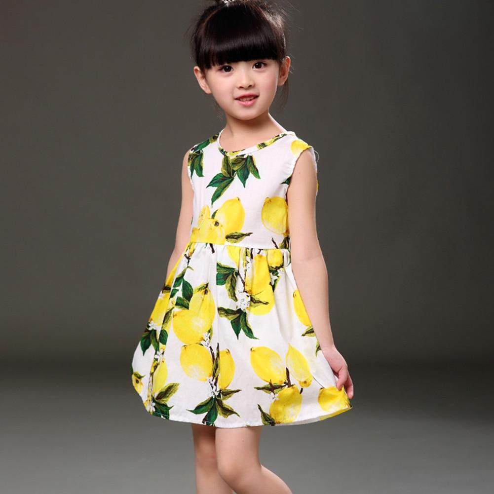 בנות לימון הדפס Vest שמלה אביב קיץ רך כותנה נסיכה שמלת ילדה יפה בחולצה ללא שרוולים החוף בגדי ילדים