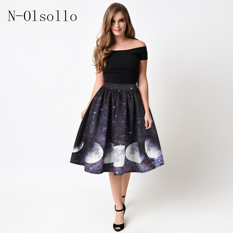 Black High Waist 3D Galaxy Moonlight change Printed Skirts Sexy Pleated  Tutu Skirts Fashion Women Summer 7f920e932277