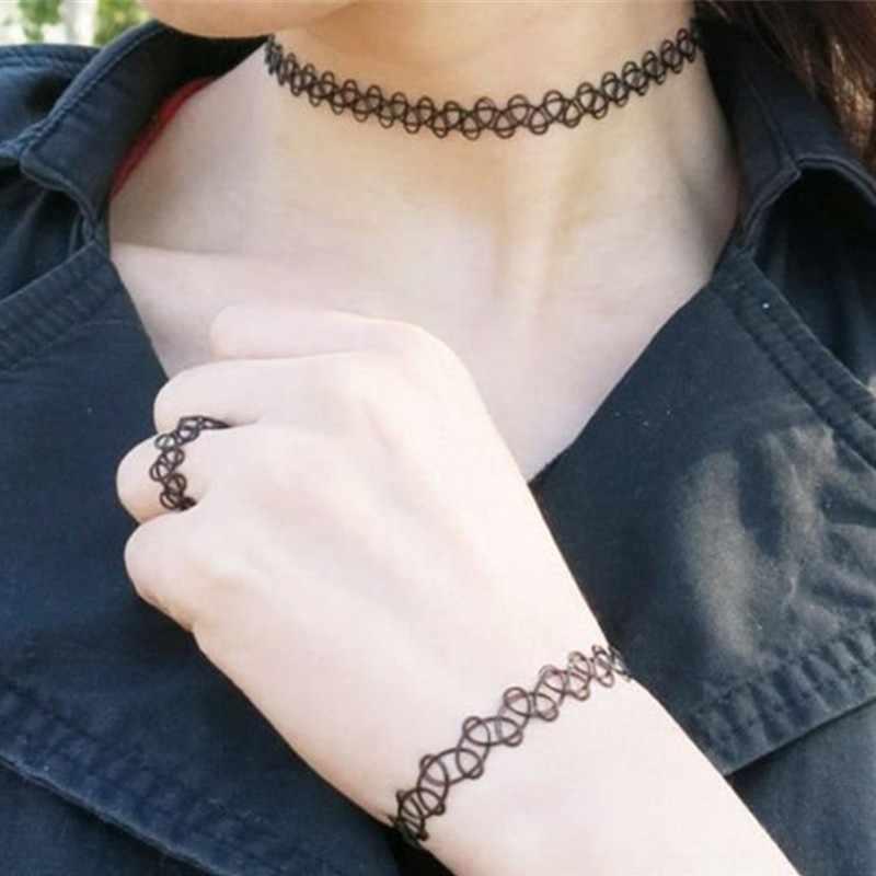 2 pzas/lote bonito nuevo Vintage elástico tatuaje gargantilla collar mujer chica encanto Punk gótico elástico collar femenino boda Trinkt regalo