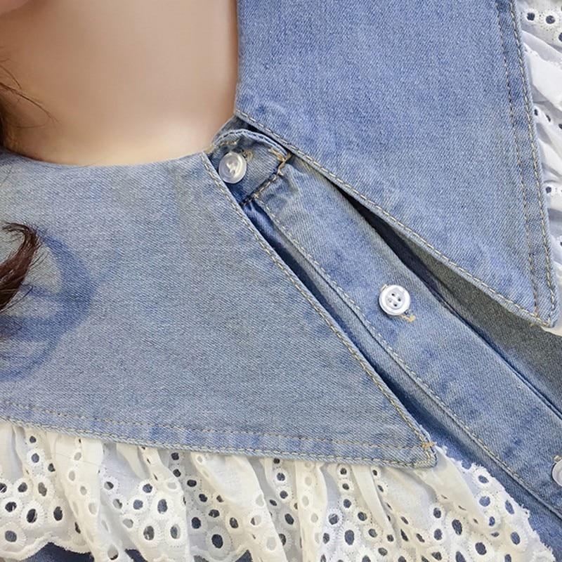 Breasted Manga Nueva Otoño Mujeres De Estudiante Camisa Peter Vaquera Light Slim Pan Blue Mujer Larga Primavera Dulce Collar Las Oficina Camiseta Blusa Solo zZdxanq