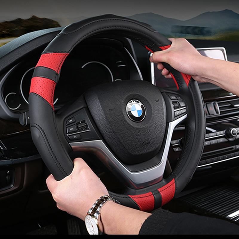 KKYSYELVA Leather Car steering wheel cover 38cm Wheel Covers Steering-wheel covers Interior Accessories