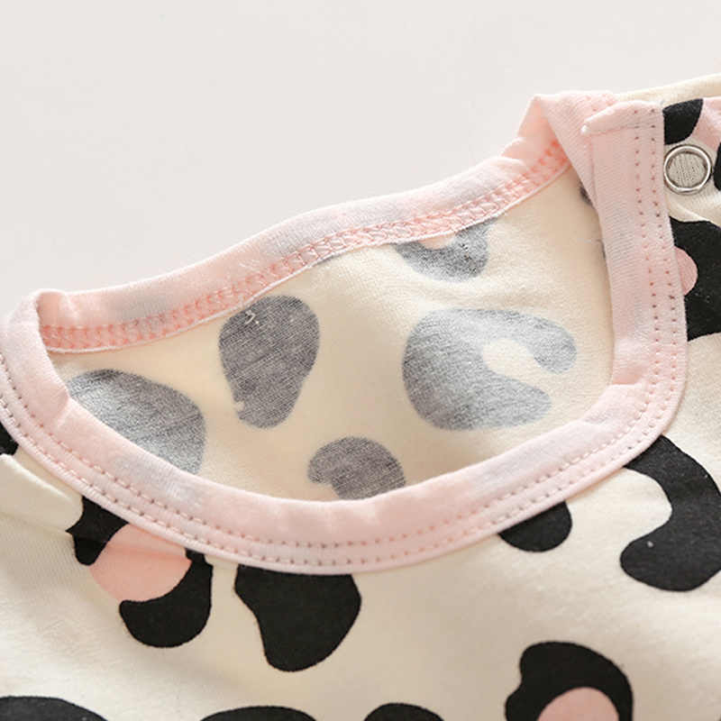 למעלה ולמעלה תינוק בנות בגדי סט 2018 סתיו יילוד תינוקת בגדי הדפס מנומר Rompers סרט מכנסיים 3PCS תלבושות סט