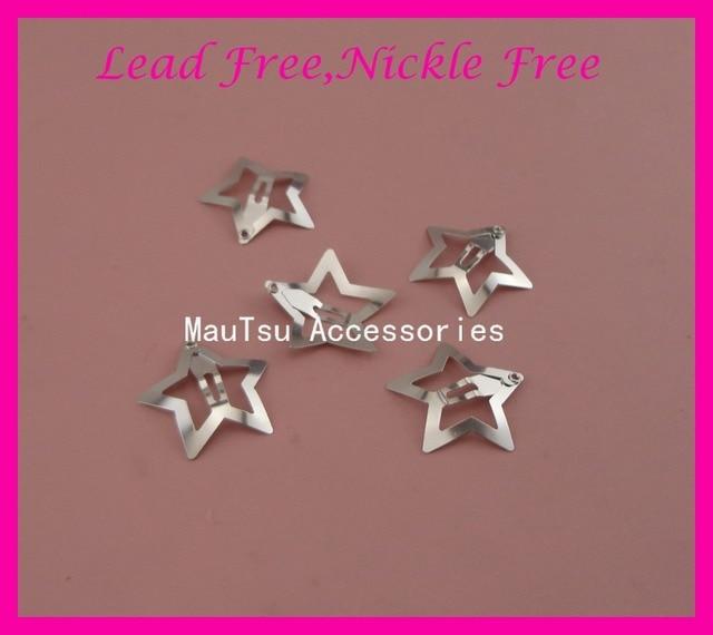 50 PCS 3.0 cm רסיס רגיל פיליגרן כוכב מתכת הצמד שיער קליפים עבור בנות nickle נטול עופרת, נשים סיכות כוכב שיער תכשיטים