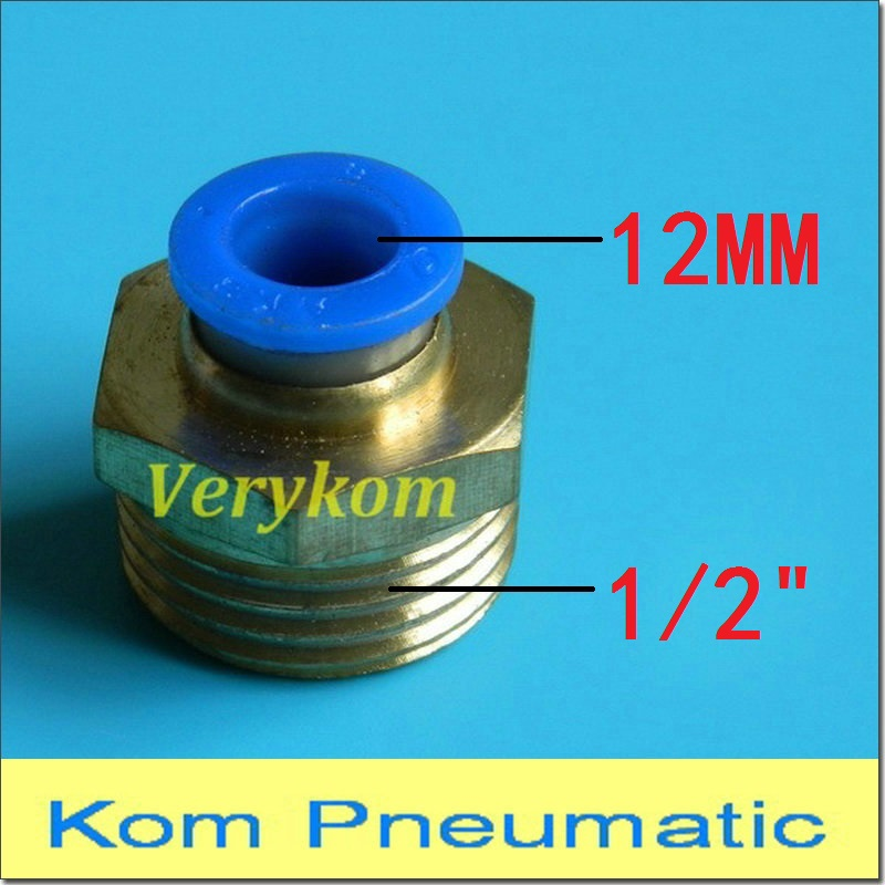 US $44 0 |100pcs/lot Verykom Pneumatic PC 12 04 Air Fitting Connect 12mm  Tube Hose Pipe Push In 1/2 Inch 1/2
