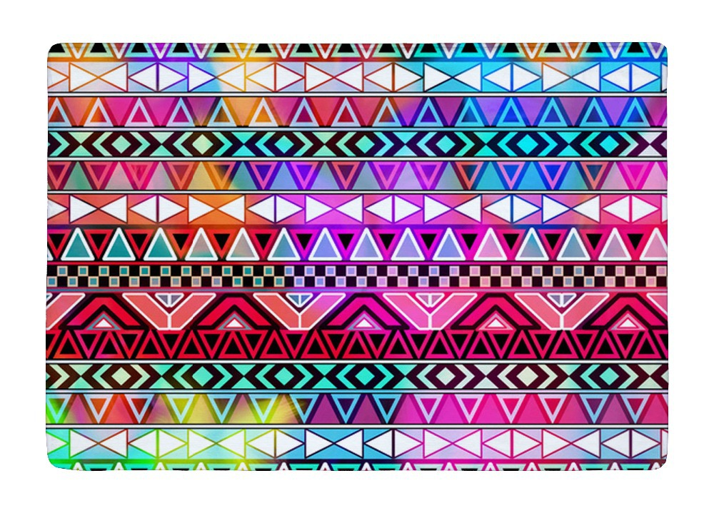 Floor Mat Purple Pink Neon Bright Andes Abstract Geometric Bohemia Print Non slip Rugs Carpets For