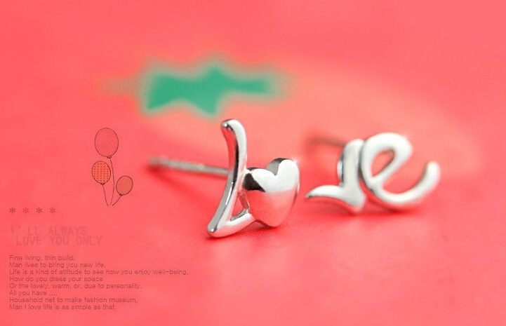 Fashion design earring copper silver plating earring 925 silver LO and VE letter earring not symmetry earring
