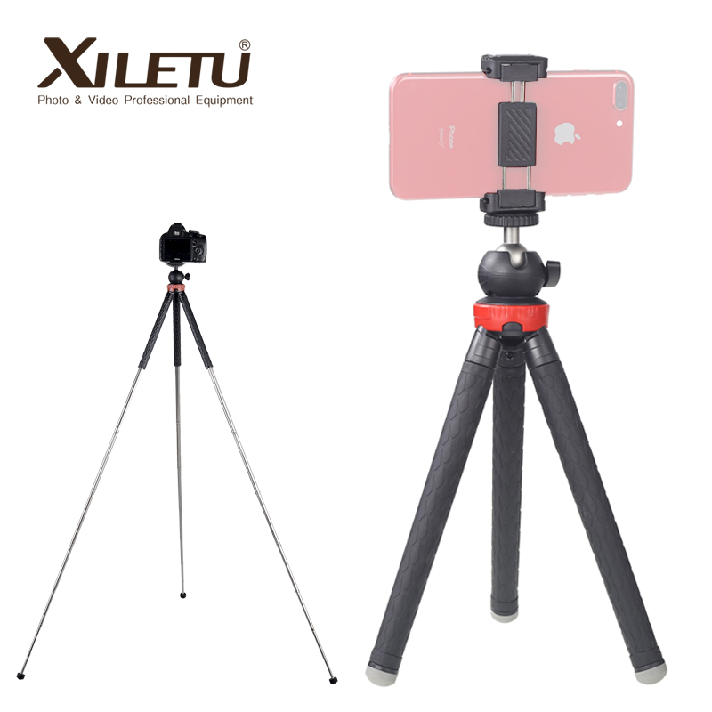 XILETU XS-110 Lightweight Mini Stainless Steel Tabletop Tripod For Travel Mountaineering Mirrorless Camera Smartphoto 1050mm