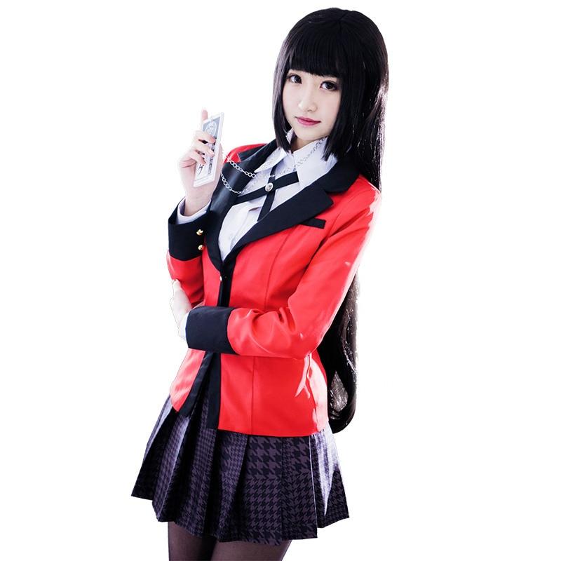 Anime Kakegurui cosplay costume Yumeko Jabami School Uniform girl 1 set jacket+skirt+shirt+stocking+necklace+tie