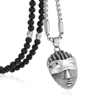 BLEUM CADE Men Stainless Steel Mask Pendant Necklace with Black Natural Agate Stone Chain 26