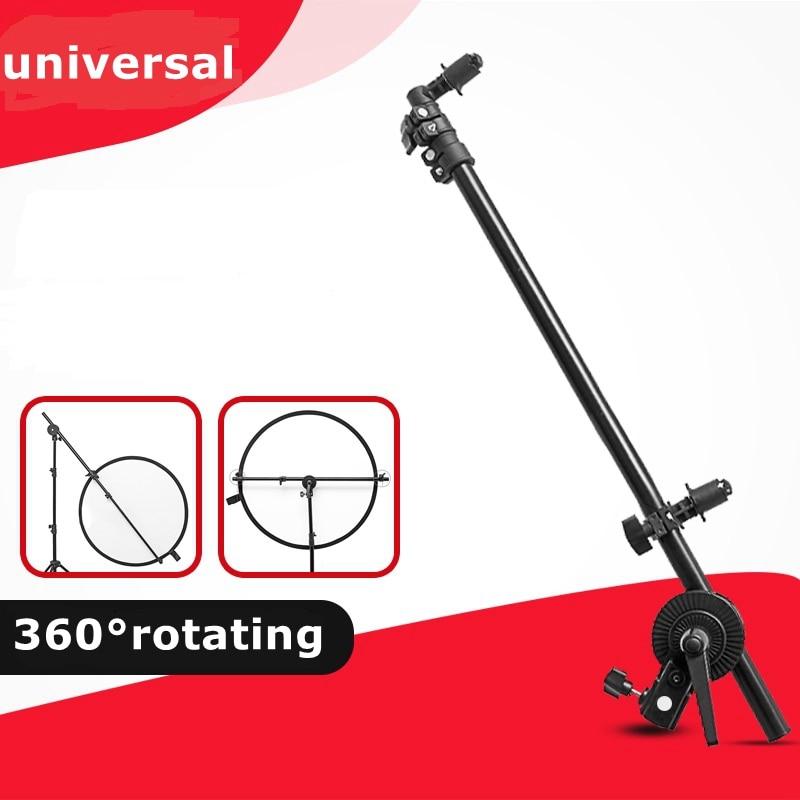 Studio Photo Holder Bracket Swivel Head Collapsible Reflector Disc Arm Support Light Stand Aluminium 66 - 170cm