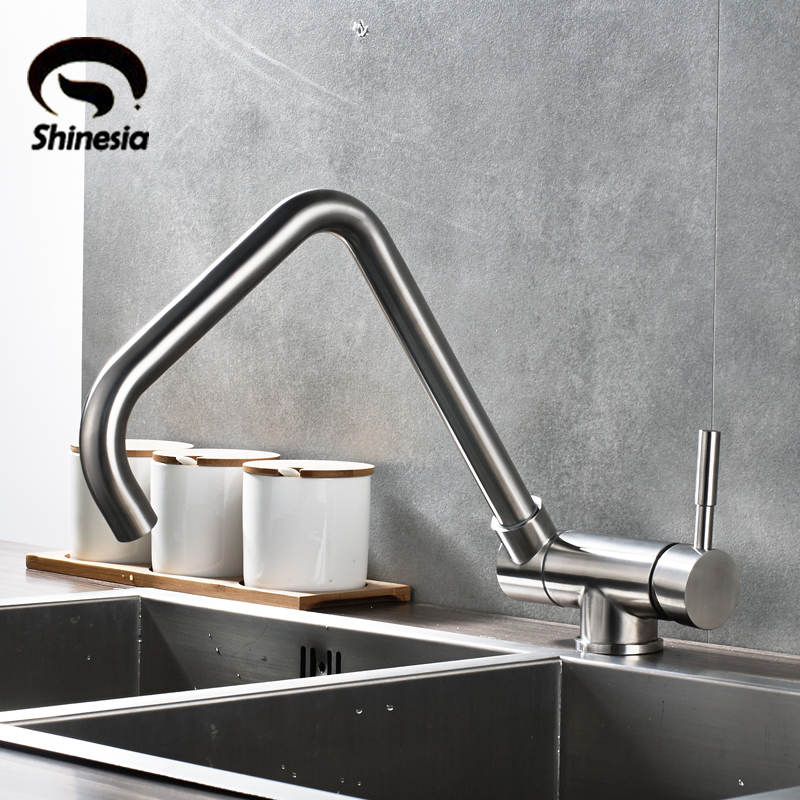 Stainless Steel Kitchen Sink Faucet Swivel Spout Faucet Single Handle Countertop Water Mixer Tap Nickel Brushed golden brass kitchen faucet dual handles vessel sink mixer tap swivel spout w pure water tap