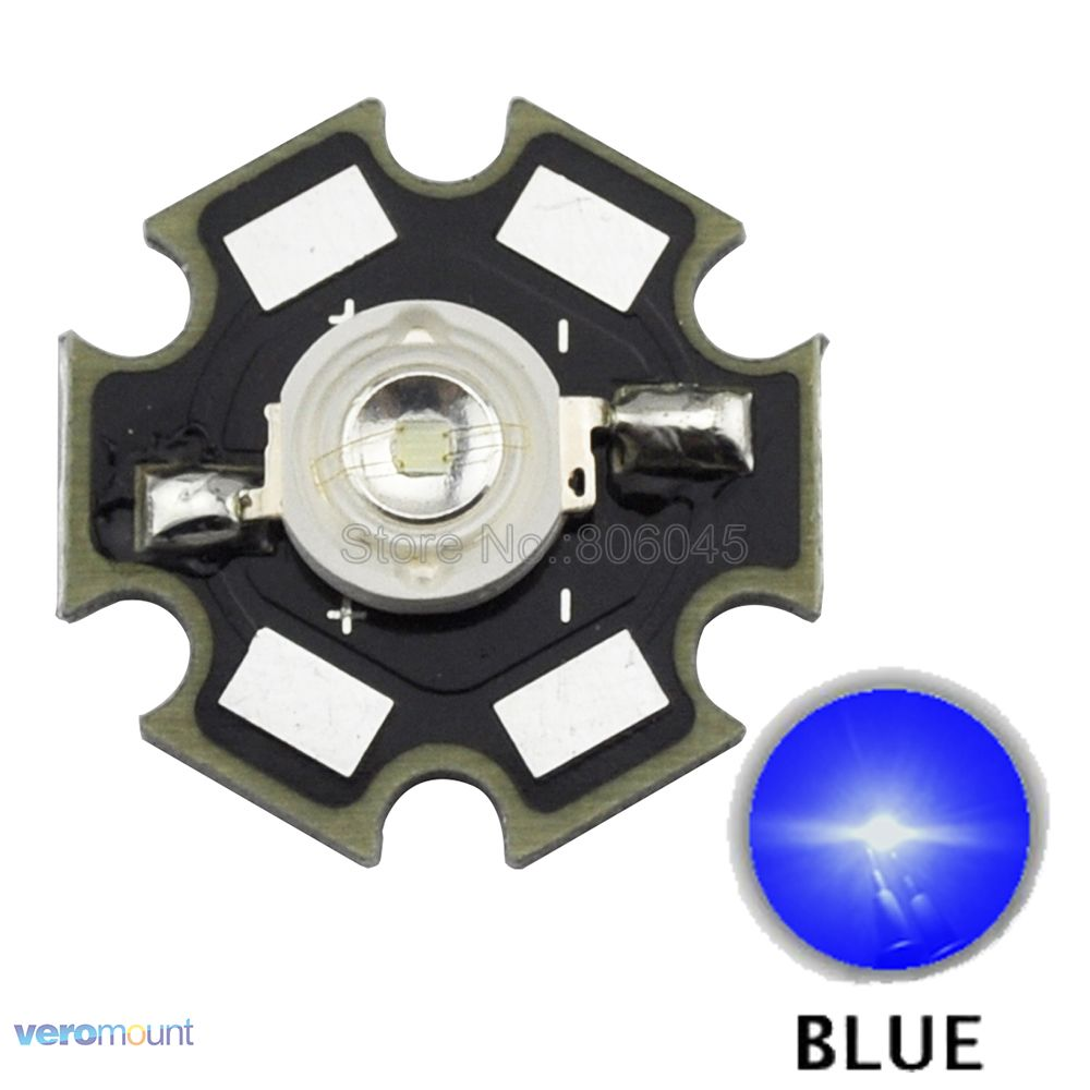 10PCS 3W Blue High Power <font><b>LED</b></font> Bead Emitter Epileds 45Mil DC3.5-3.8V 700mA 40LM <font><b>460nm</b></font> - 470nm with 20mm Star Platine Heatsink image