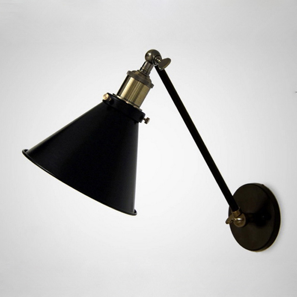 Retro edison nordic industrial loft swing arm wall sconce warehouse ambient lighting e27 bar Beautiful swing arm wall lamps and sconces