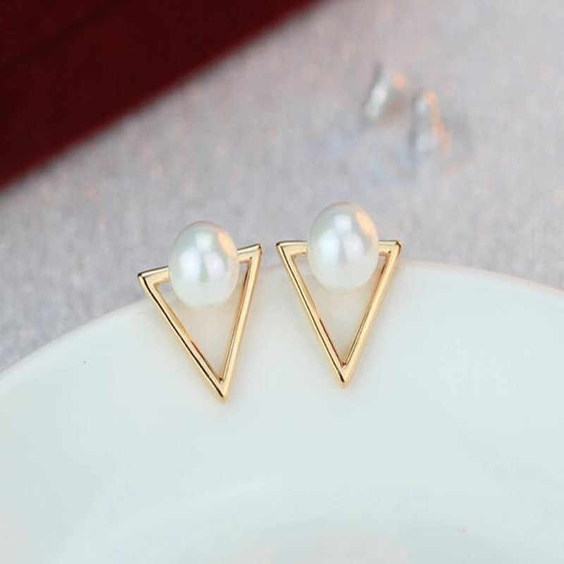 2017 fashion jewelry simple temperament wild zinc alloy black silver triangle female earrings gift wholesale
