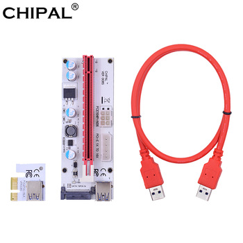 CHIPAL VER008S 60CM 100CM PCI-E Riser Card 008S PCI Express 1X to 16X Extension 4Pin 6Pin 15Pin SATA Power LED for Video Card 1