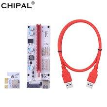 Chipal ver008s 60cm 100cm pci-e riser cartão 008s pci express 1x 16x extensão 4pin 6pin sata power led para mineração de mineiro btc
