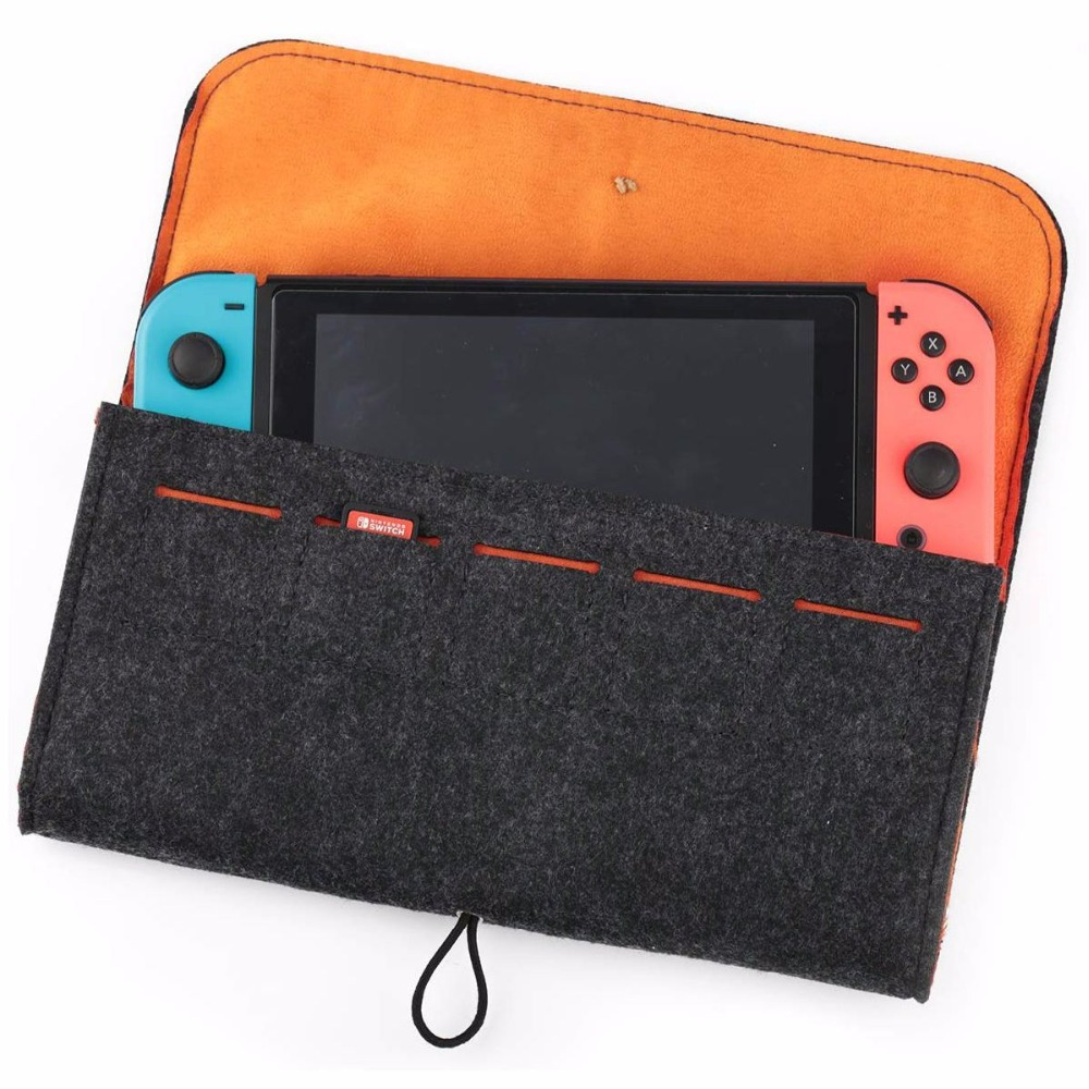 For Nintendo Switch With 5 Game Cards Large Capacity Divide Layered Case Wool Felt Protective Traveling Carrying Case Shockproof