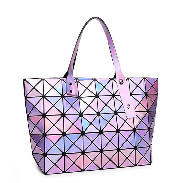 Cube Package Ling Grid Laser Geometric Sching Star Las Handbag Whole Dropship