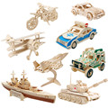 Baby Toys Lion/Jeep Animal/ Vehicle 3D Puzzle Model Building Kits Wooden Toys Family Game Educational Gift