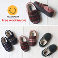 Winter 2016 boys Girls shoes Warm Cotton Padded Slide Wild suede shoes plus velvet Plaid Kids Sneakers Casual Kids Lazy Shoes
