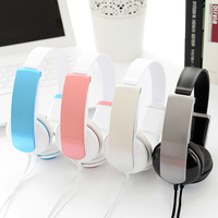 Fashion Headband Stereo Headphones W Microphone Portable Wired Pink Headset For Kids Girls Mobile Phone IPhone