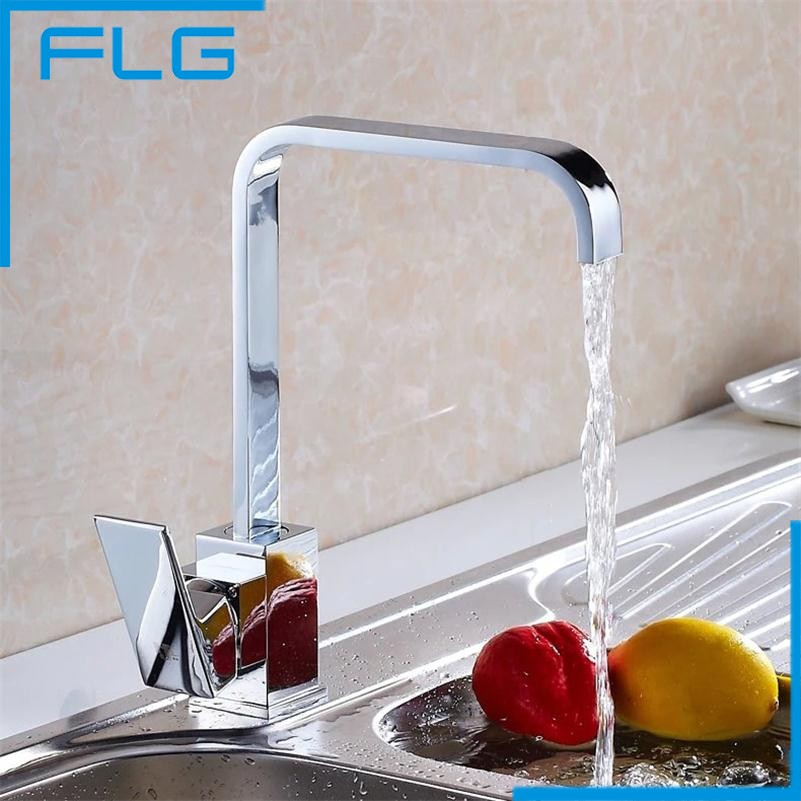 ФОТО Free Shipping Single Handle Copper Sink Chrome Square Kitchen Faucet Single Cold Kitchen Tap Mixer Torneira Cozinha